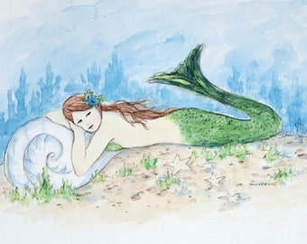 mermaid greeting card, mermaid, girl, woman, coastal, nautical, beach art, mermaid, shabby chic, from a watercolor painted by Tina O'Brien