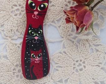 Ceramic Brooch Cats 3in1