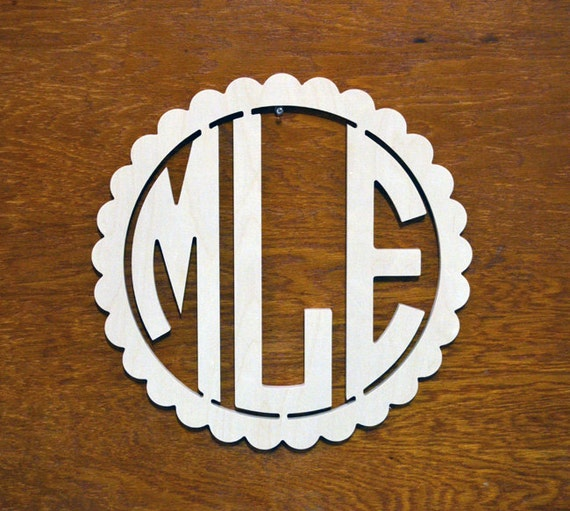 16 inch wooden monogram with circular letters with bold for 16 wooden letters