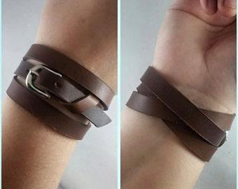 Handmade Leather Buckle Bracelet