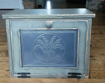 Large Punched Tin Bread Box or Hidden Electronics Docking Station