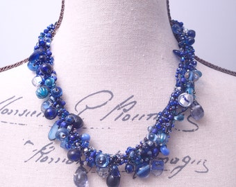 Cool Blue Glass Cluster Bead Necklace