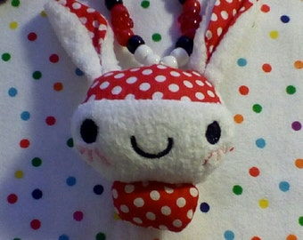 RED Polka Dotted BUNNY RABBIT Pony Bead Necklace
