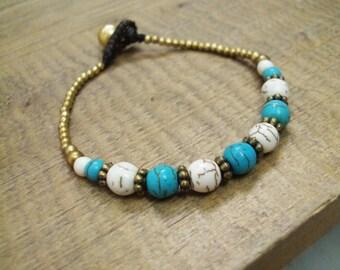 Howlite bracelets,Turquoise bracelets,Beadwork bracelets,Stone bracelets,Brass bracelets