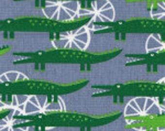 Alligators on Blue Cotton Fabric