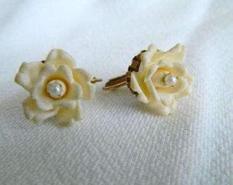 Vintage Miriam Haskell Ivory Rose Earrings