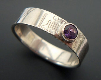 Sterling Circuit Board Ring with amethyst - size11