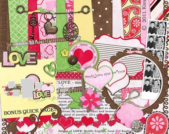 "Valentine's Digital Scrapbook Kit - ""Love"" digiscrap papers and elements with heart, charms, frames and quick page for scrapbook layouts"