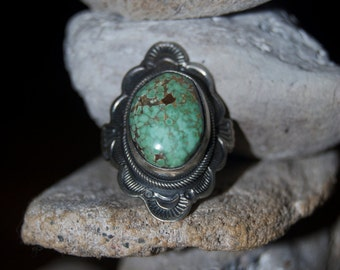 Navajo Turquoise Sterling Silver Ring - Size 8