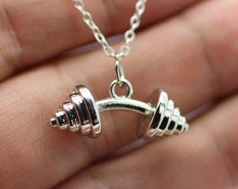 DUMBBELL BARBELL WEIGHT Charm Chain Necklace Fitness Weightlifting Gym crossfit