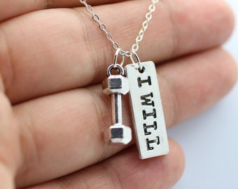 DUMBBELL + I WILL Chain Necklace * Fitness Weightlifting Gym crossfit jewelry