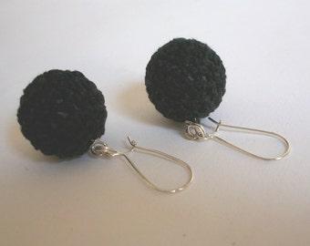 Black crochet bead earrings