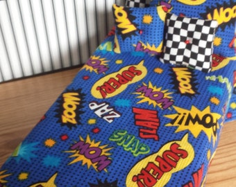 REDUCED! Wham! Pow! Zap! Comic Print Barbie Bedding! Perfect for a Male Doll!