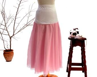Pink Tulle Petticoat Wedding Crinoline Bridal Underskirt Wedding Separates Bridal Slip Bohemian Wedding Beach Wedding Prom Dress Tulle Skirt