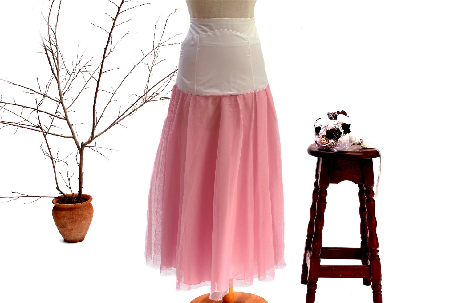 Pink tulle petticoat wedding crinoline bridal underskirt for Tulle petticoat for wedding dress