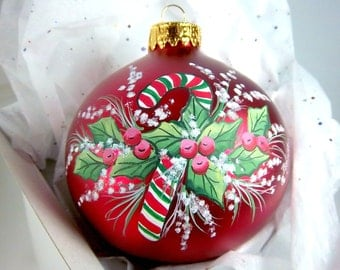 Candy Cane Ornament, Red Satin Glass, Holly and Berries, Snow, Hand-Painted, Festive, Free Inscription