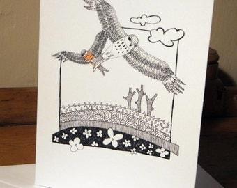 Red Kite Birds Greeting Card from an original art Illustration ART017