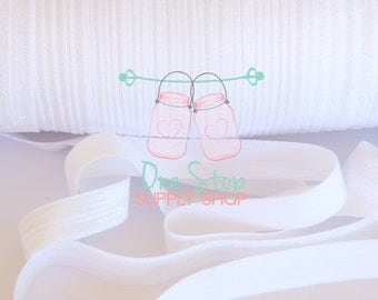 White FOE elastic 5 yards option for hair bows headbands 5/8 size
