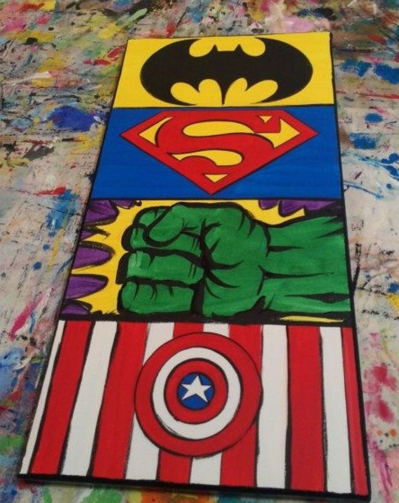 Marvel Wood Wall Decor : Marvel hand painted wooden wall art large by thetinypaintbox