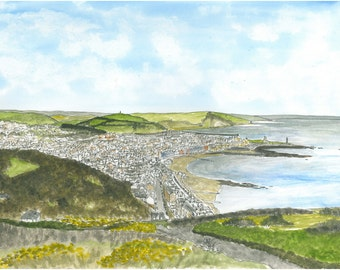 Giclee print of Pen ink and watercolor original of Aberystwyth