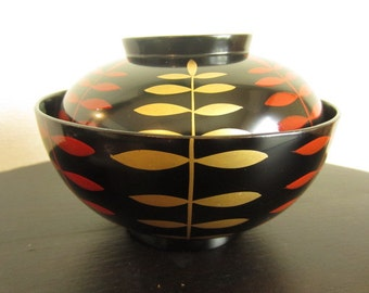 "Set of 5 Japanese Vintage ""Owan"" of ""Urushi"", lacquered Soup Bowls around 1990s"