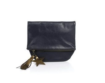 Leather foldover STAR clutch, navy blue leather clutch, foldover leather pouch, birthday gift, mothers day gift