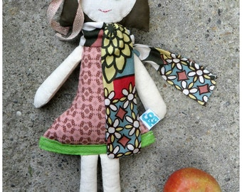 Cloth doll, Rag doll, Art doll, Fashion cloth doll, Stuffed doll, Girl doll, Floral dress, Pink and green, Bob haircut doll
