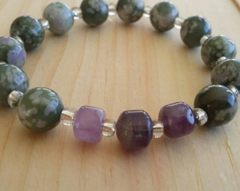 Gemstone stretch bracelet, amethyst and jade bracelet, stacking bracelet