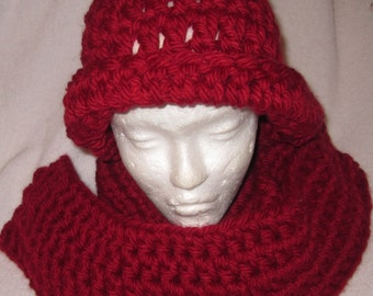 Burgundy Hat and Scarf