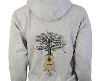 Acoustic Guitar Hoody Musical Tree Guitarist in sizes up to XXL