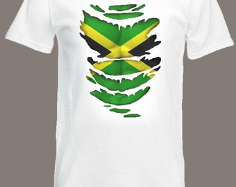 Jamaican Flag T-Shirt see Muscles through Ripped T-Shirt Jamaica in all sizes