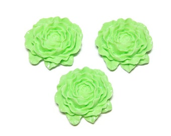 Lime Green Flowers 50mm Large Resin Open Bloom Lot of 3 Wholesale Supplies