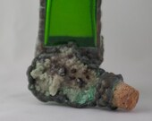 GIFT SPECIAL: Green glass bottle with Mineral cork, stained glass technique, green bottle with interesting stone soldered to cork
