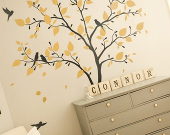 Nursery wall decoration Kids room wall deals White tree wall decals Tree with birds wall decoration KW005_2