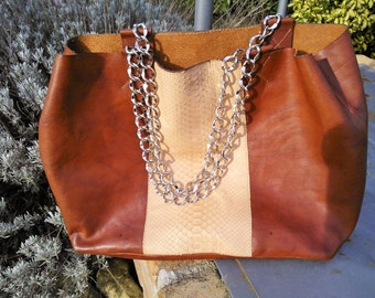 leather and python shopping bag