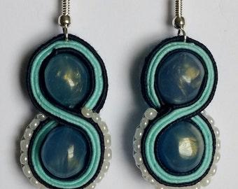 Small blue Soutache earrings