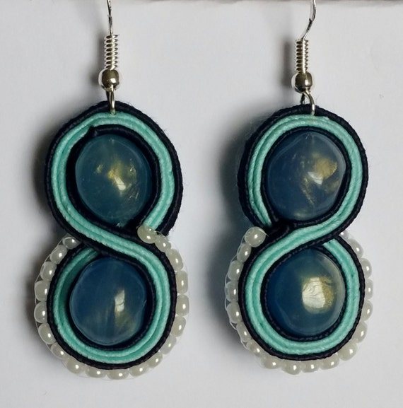 Small Blue Earrings: Small Blue Soutache Earrings