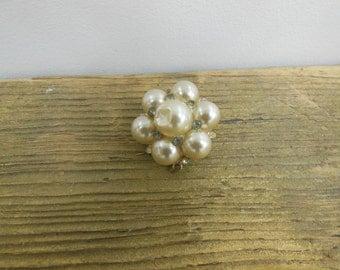 Vintage Pearl Diamond Like Brooch