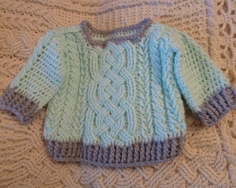 Aran Braided Cable Crochet Baby Sweater Pattern for boys and girls (size 0 to 3 months), cable sweater, baby clothes, PDF Download