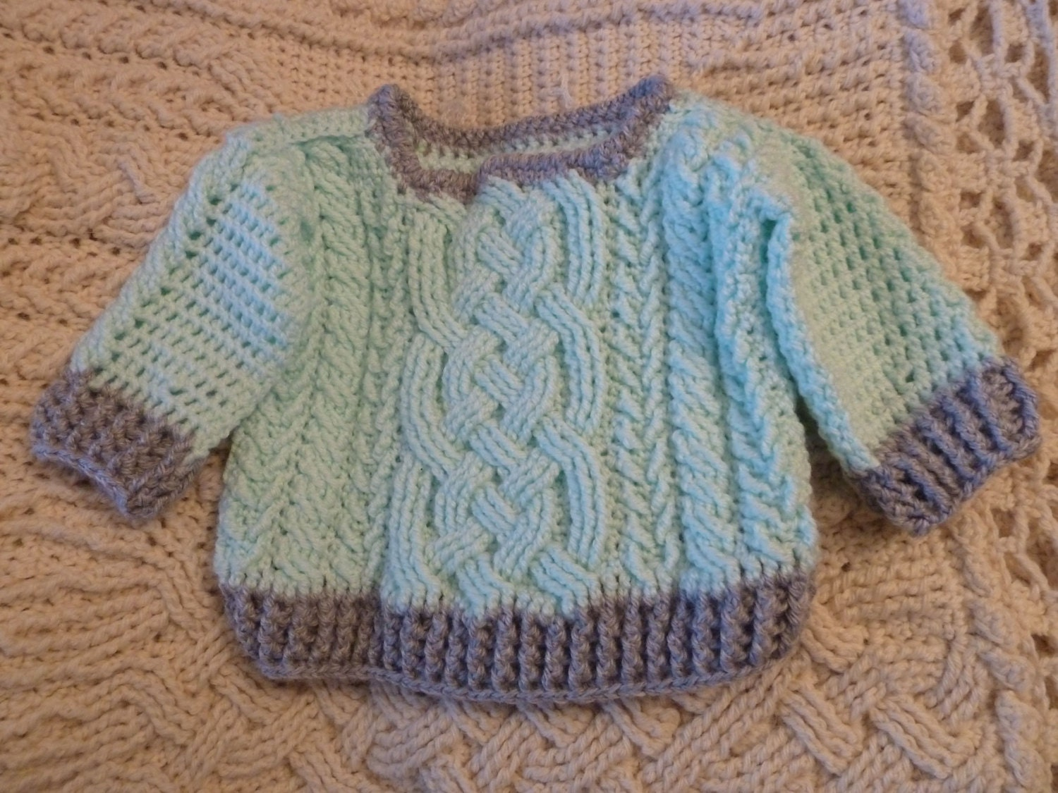Aran braided cable crochet baby sweater pattern for boys and zoom bankloansurffo Images