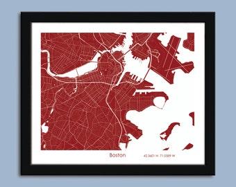 Boston map, Boston city map art, Boston wall art poster, Boston decorative map