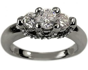 Three Stone Engagement Ring In 14k White Gold With Pave Diamond Accents