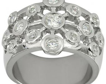 Wide Band Rings Right Hand Diamond Ring With 3/4ctw Bezel Set Diamonds