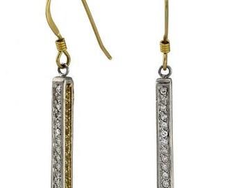 Diamond Earrings Sapphires And Pave Diamonds Dangling Earrings 14k White Gold