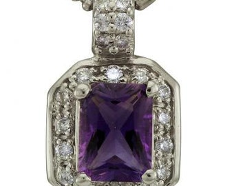 Amethyst Necklace Pendant Surrounded By Diamonds In 14k White Gold