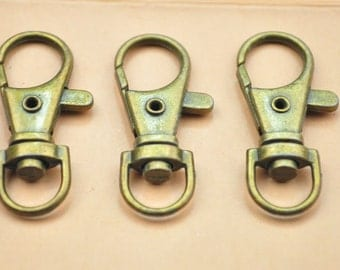 10pcs Lobster Swivel Clasps for Key Rings,wholesale, Antique bronze 38x16mm