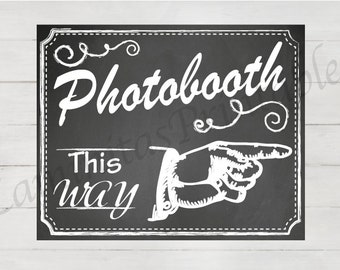 photobooth sign, photo booth sign, photobooth backdrop, photobooth insert, Photobooth this way, wedding photobooth, chalkboard wedding sign