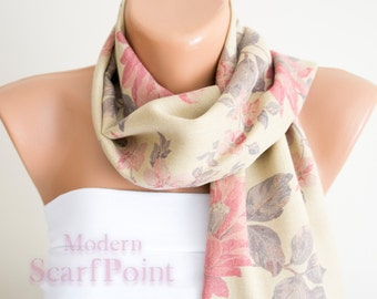 Cream Floral Scarf, Woman Accessories,Woman Fashion, Cotton Scarf, Mother's Day Gift,Lightweight Scarf, Floral Scarf, Modern Scarf