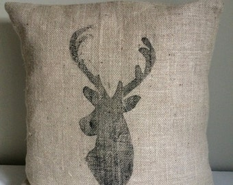 Hessian hand printed stag cushion cover.