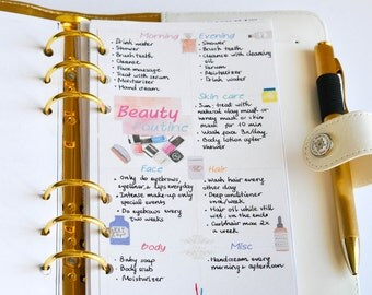 Beauty care routine Personal size Filofax/Webster's Pages color crush printable